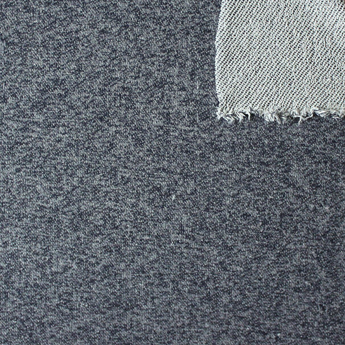 Navy Blue Heathered French Terry Knit Sweatshirt Fabric, 1 Yard