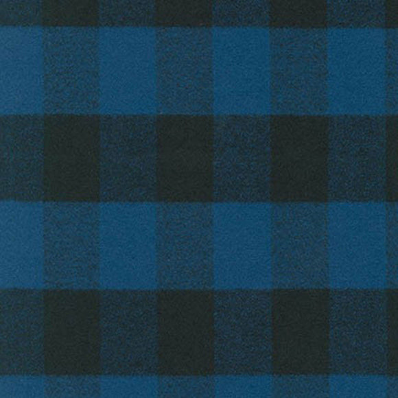 Blue and Black Robert Kaufman Mammoth Plaid Flannel, 1 Yard - Raspberry Creek Fabrics