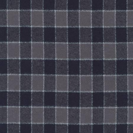 Grey and Black Square Check Plaid Robert Kaufman Mammoth Plaid Flannel, 1 Yard - Raspberry Creek Fabrics