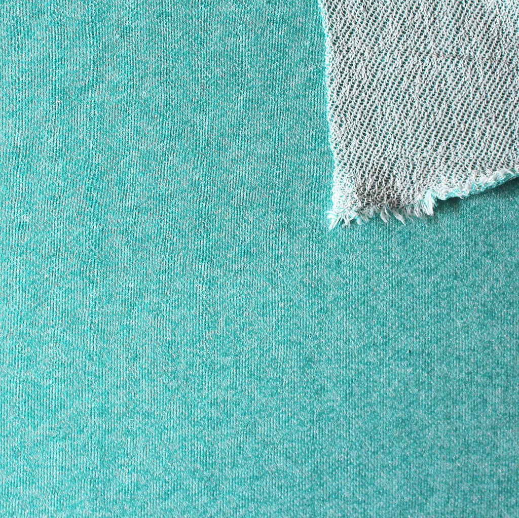 Jade Heathered French Terry Knit Sweatshirt Fabric, 1 Yard