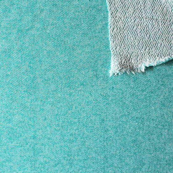 Jade Heathered French Terry Knit Sweatshirt Fabric, 1 Yard PRE-ORDER - Raspberry Creek Fabrics