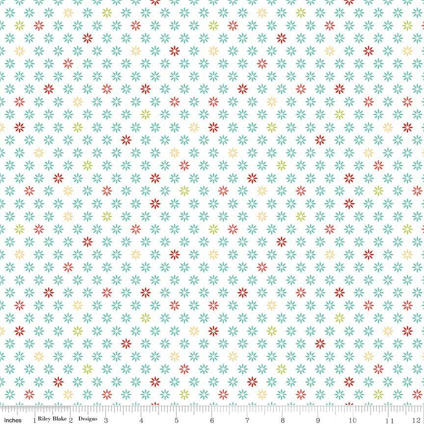 White Teal Yellow and Red Floral Fabric, Ardently Austen by Amanda Herring for Riley Blake Designs, Floral Print in Multi, 1 Yard