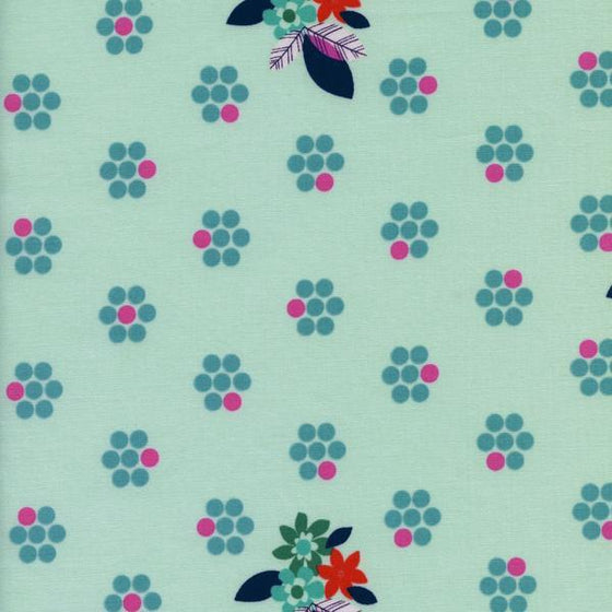 Aqua Blue Pink and Orange Floral Dot Cotton Fabric, Fruit Dots Collection by Melody Miller for Cotton and Steel, 1 Yard