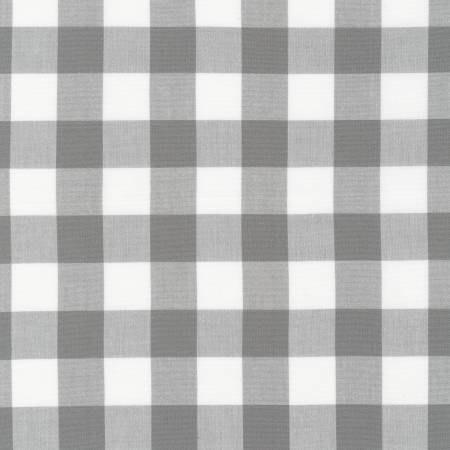 Grey and White Plaid Checked Gingham, Robert Kaufman Carolina Gingham, 1 Yard