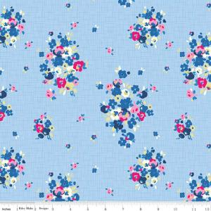 Blue Pink Yellow Plum and White Floral Jersey Knit Fabric, Designer Knits by Christopher Thompson For Riley Blake, Blue Carolina in Blue, 1 Yard - Raspberry Creek Fabrics