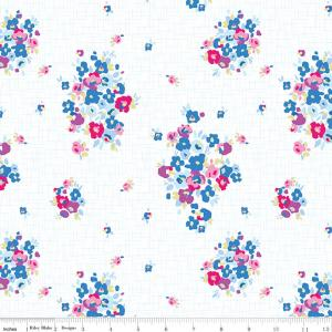 White Blue Pink Yellow and Plum Floral Jersey Knit Fabric, Designer Knits by Christopher Thompson For Riley Blake, Blue Carolina in White, 1 Yard - Raspberry Creek Fabrics