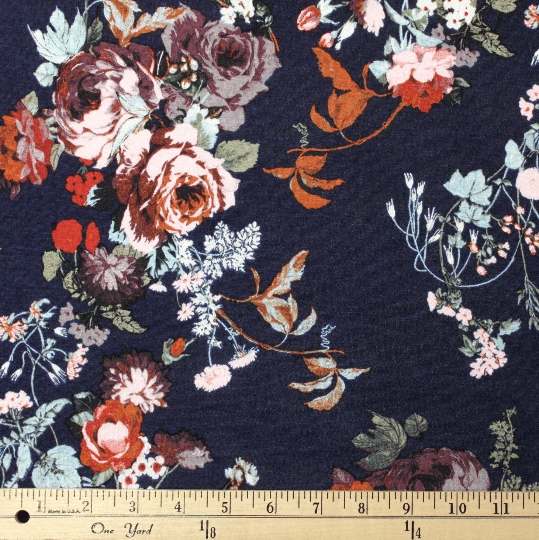 Navy Rust Aqua and Pink Floral Rayon Spandex Jersey Knit Fabric, 1 Yard