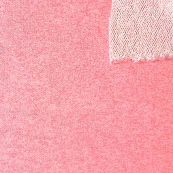 Neon Pink Heathered French Terry Knit Sweatshirt Fabric, 1 Yard