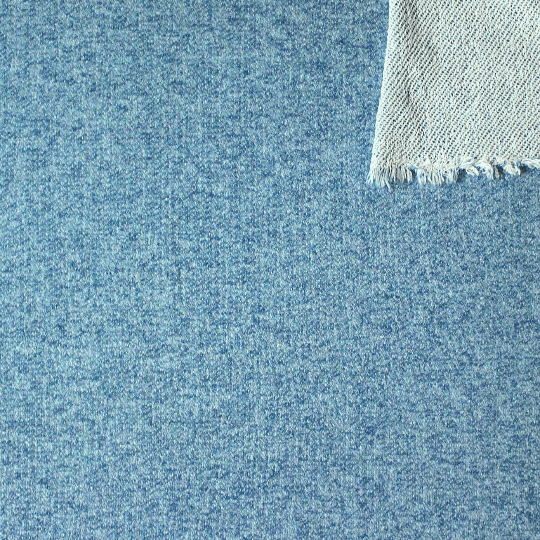 Ocean Blue Heathered French Terry Knit Sweatshirt Fabric, 1 Yard PRE-ORDER - Raspberry Creek Fabrics