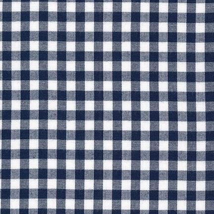 Navy and White 1/4 Inch Plaid Checked Gingham, Robert Kaufman Carolina Gingham, 1 Yard