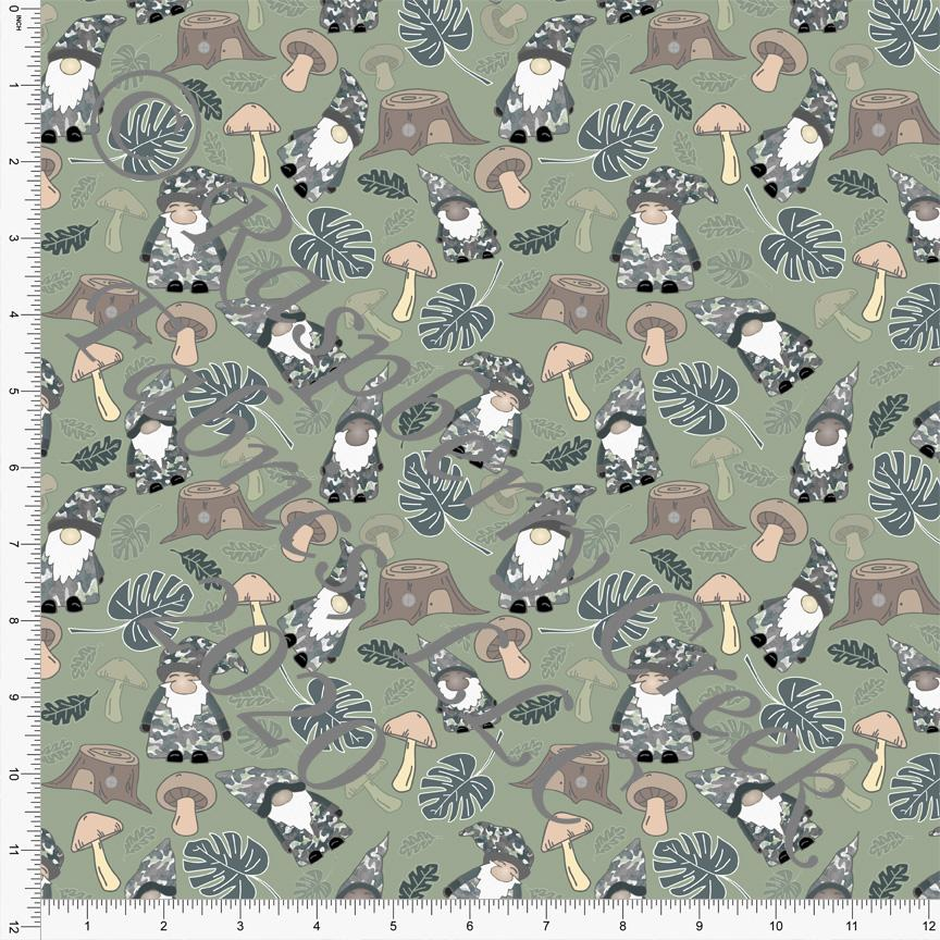 Tonal Grey Green and Brown Forest Gnome Print Double Brushed Poly Knit Fabric, Mythical by Elise Peterson for CLUB Fabrics Raspberry Creek Fabrics