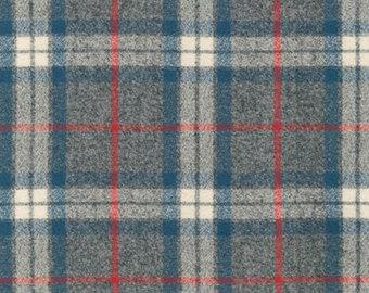 Blue Grey and Red Plaid Robert Kaufman Mammoth Plaid Flannel in Smoke, 1 Yard