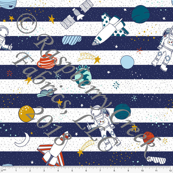 Navy Mustard Mint and Rust Space Planet Stripe 4 Way Stretch Jersey Knit Fabric, Space by Kimberly Henrie for Club Fabrics