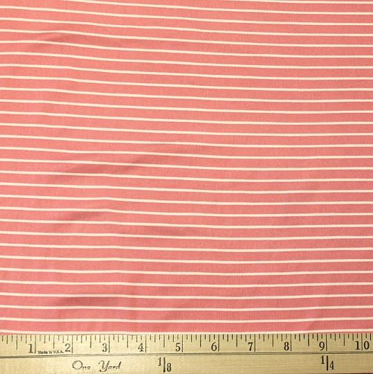 Coral and Off White Stripe Double Brushed Poly Spandex Knit, 1 yard