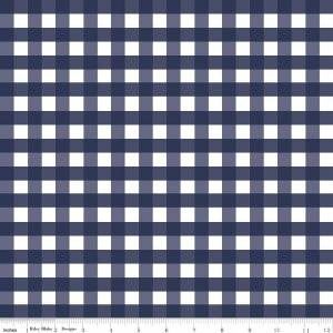 Navy and White 1/2 Inch Check Gingham Fabric, Riley Blake Designs Basics, 1 Yard