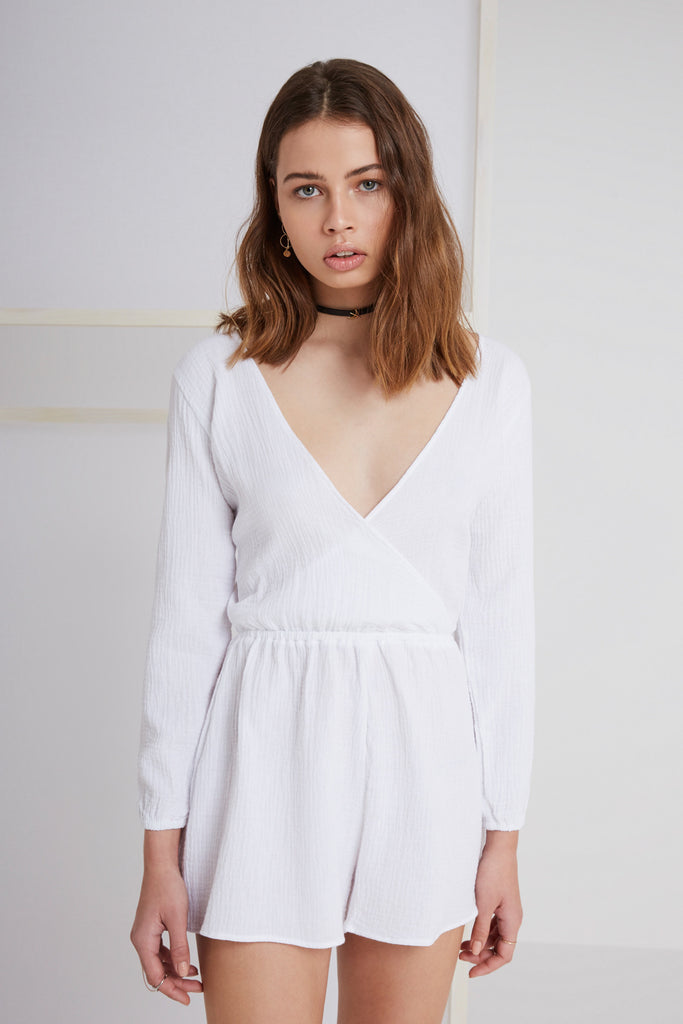 SWEET DISPOSITION PLAYSUIT white