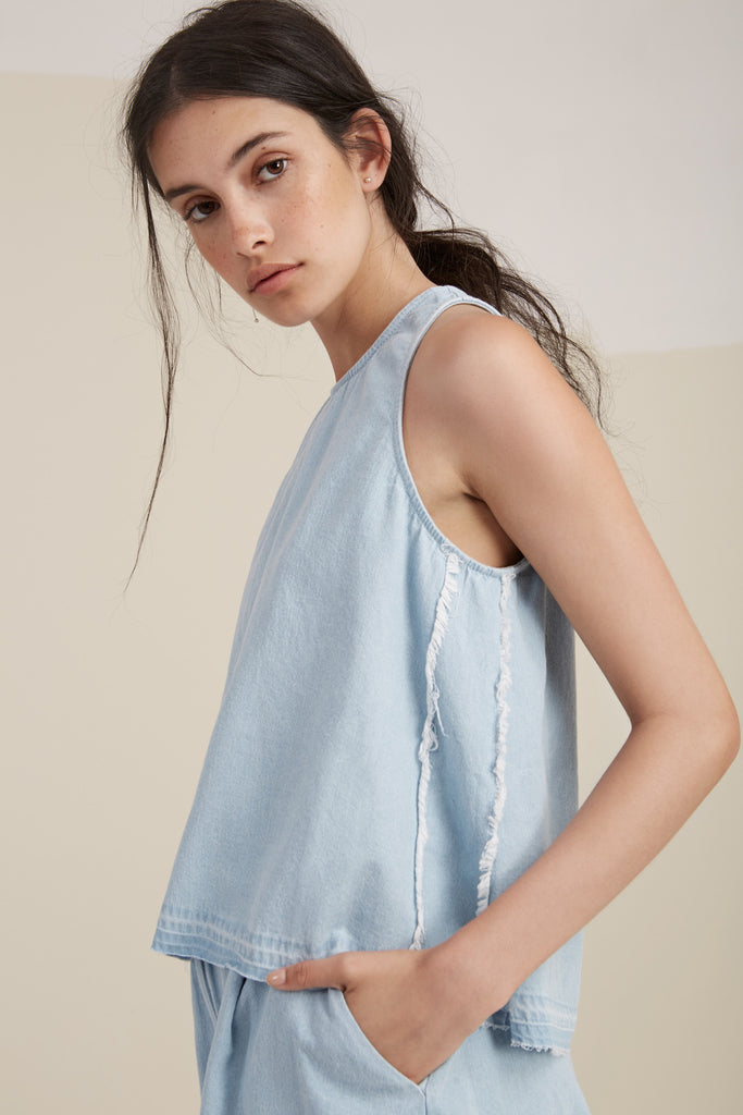 THE MOTEL TOP washed denim