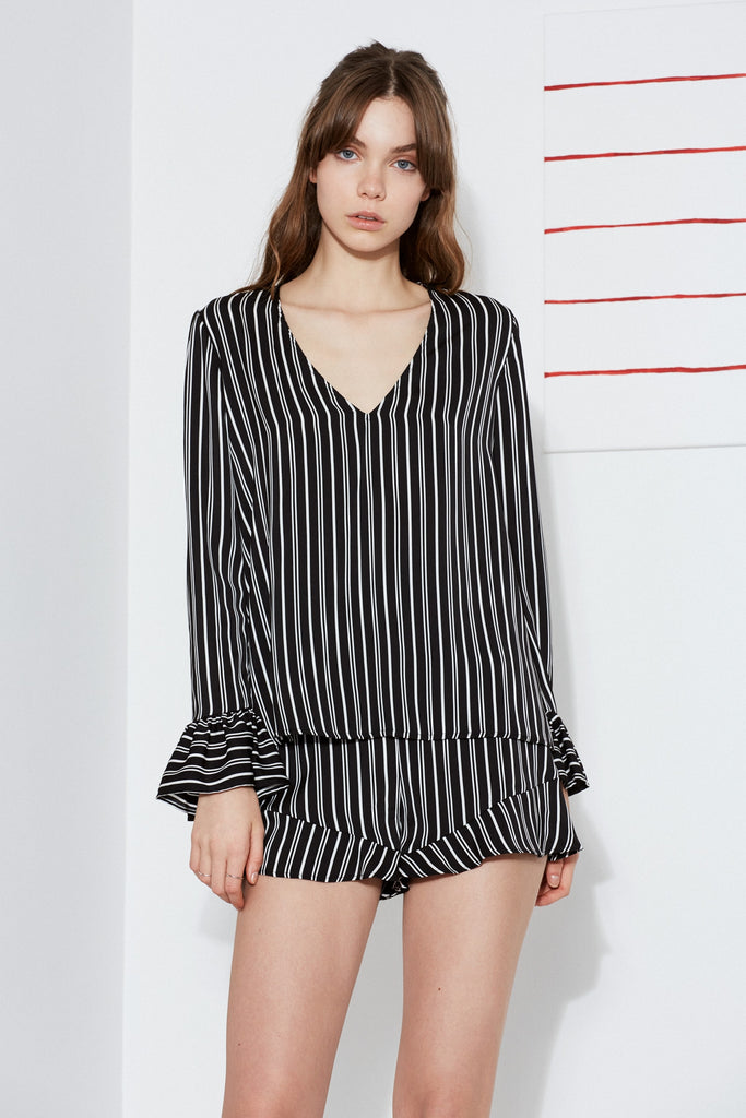 OPHELIA STRIPE LONG SLEEVE TOP black w ivory
