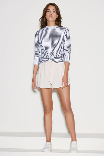 RECHARGE STRIPE LONG SLEEVE TOP white w navy