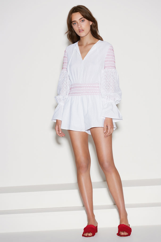 RIVERINE LONG SLEEVE PLAYSUIT white