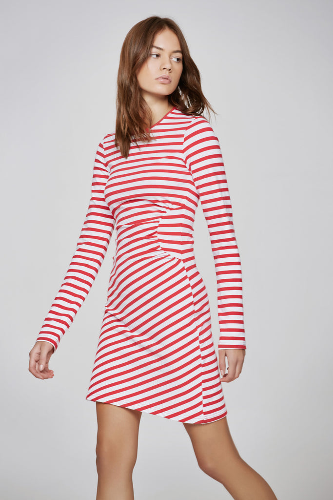 VOYAGE STRIPE LONG SLEEVE DRESS red w white