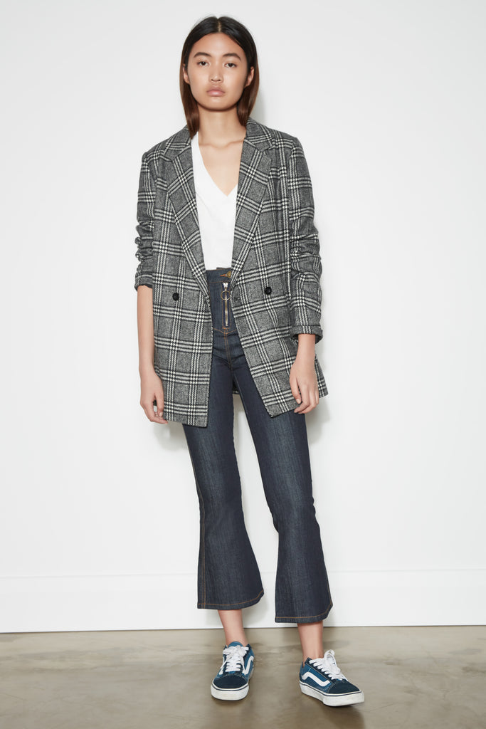 NEW DAWN CHECK BLAZER black w white