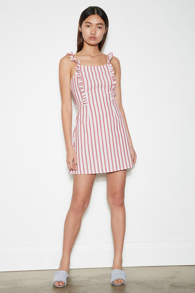 ACACIA STRIPE DRESS white w red