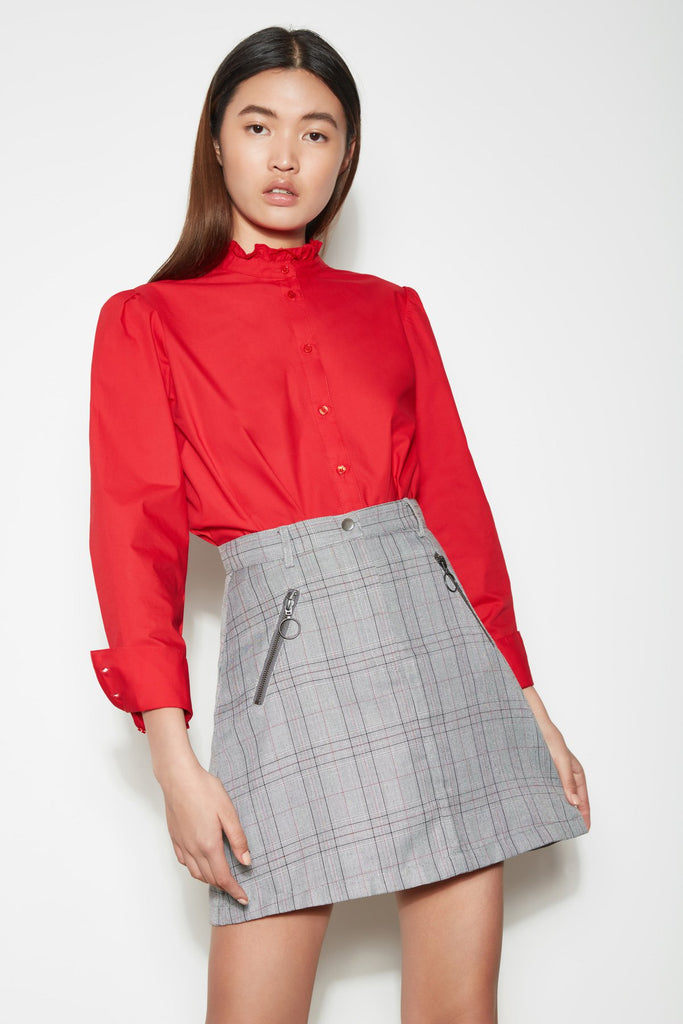 CYPRESS CHECK SKIRT charcoal check