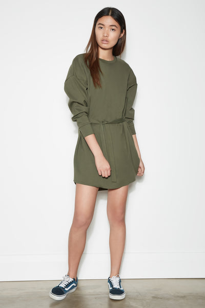HIDEOUT LONG SLEEVE DRESS khaki