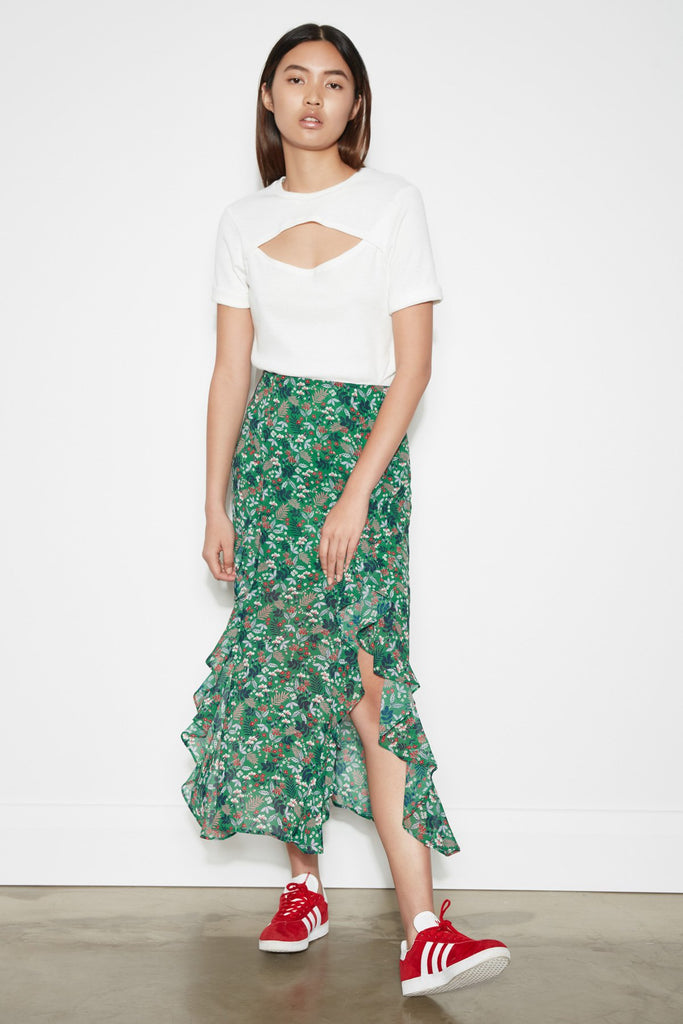 VIRIDIAN SKIRT jade floral bloom