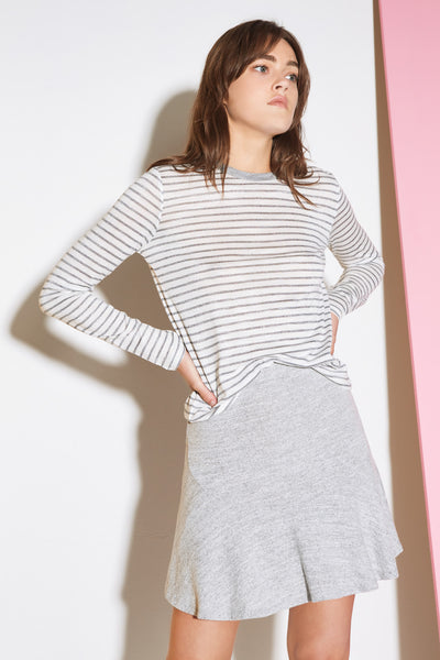 GUEST STRIPE LONG SLEEVE TOP white w charcoal