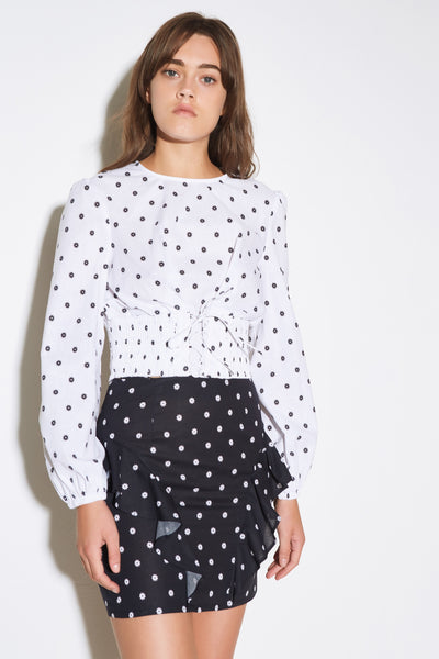 FIESTA LONG SLEEVE TOP white w black daisy