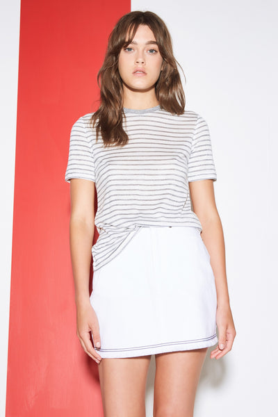 GUEST STRIPE T-SHIRT white w charcoal