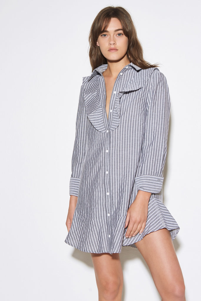 PARCEL STRIPE LONG SLEEVE DRESS charcoal w white