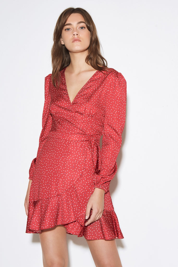 ROOFTOP POLKA DOT LONG SLEEVE DRESS red w white