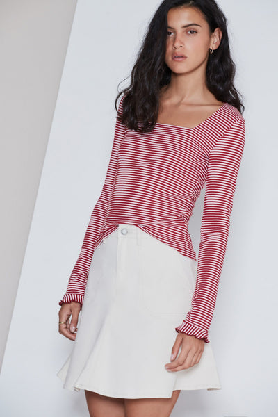 LOCAL STRIPE LONG SLEEVE TOP brick w white