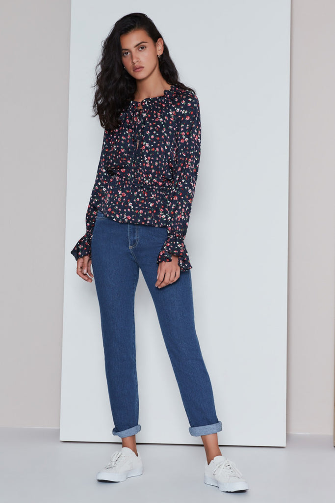 SONIC LONG SLEEVE TOP navy fleur