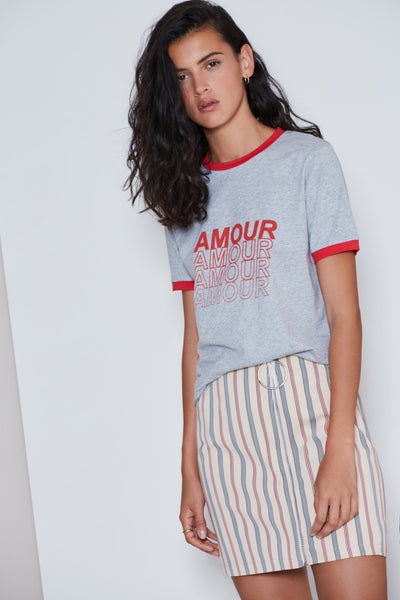 AMOUR T-SHIRT grey marle w red
