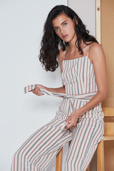 AXIAL STRIPE JUMPSUIT sand w red