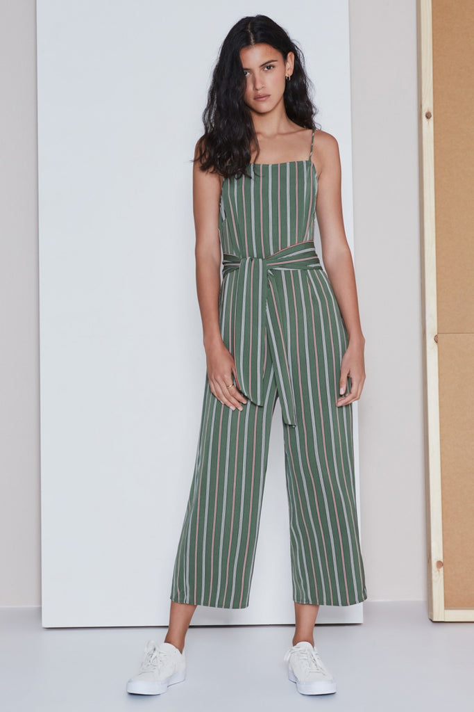 AXIAL STRIPE JUMPSUIT khaki w brick