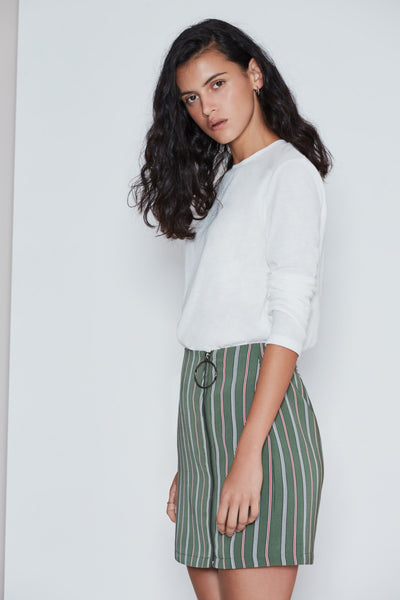 AXIAL STRIPE SKIRT khaki w brick
