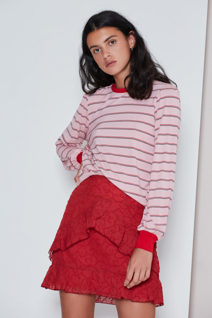 BEAT STRIPE LONG SLEEVE TOP dusty pink w red