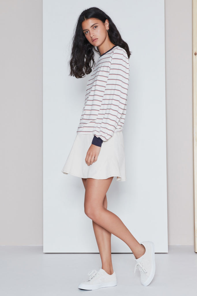 BEAT STRIPE LONG SLEEVE TOP ivory w red