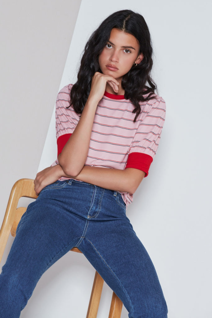 BEAT STRIPE T-SHIRT dusty pink w red