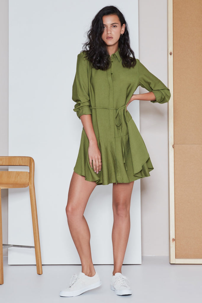 CREW LONG SLEEVE DRESS khaki