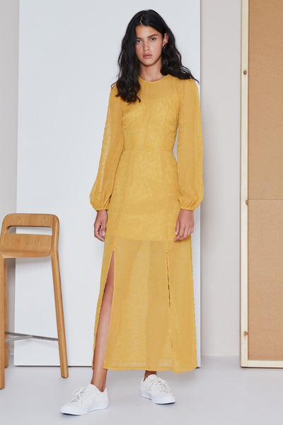 RHYTHM LONG SLEEVE DRESS mustard