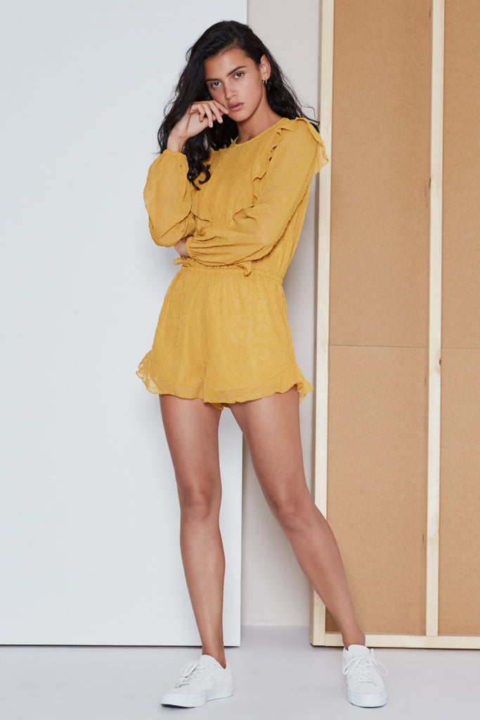 RHYTHM LONG SLEEVE PLAYSUIT mustard