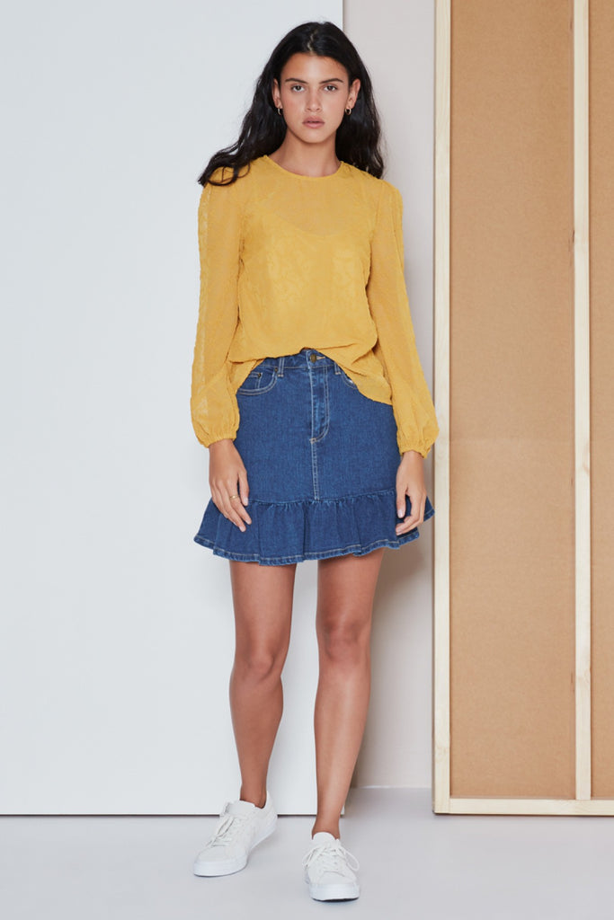 RHYTHM LONG SLEEVE TOP mustard