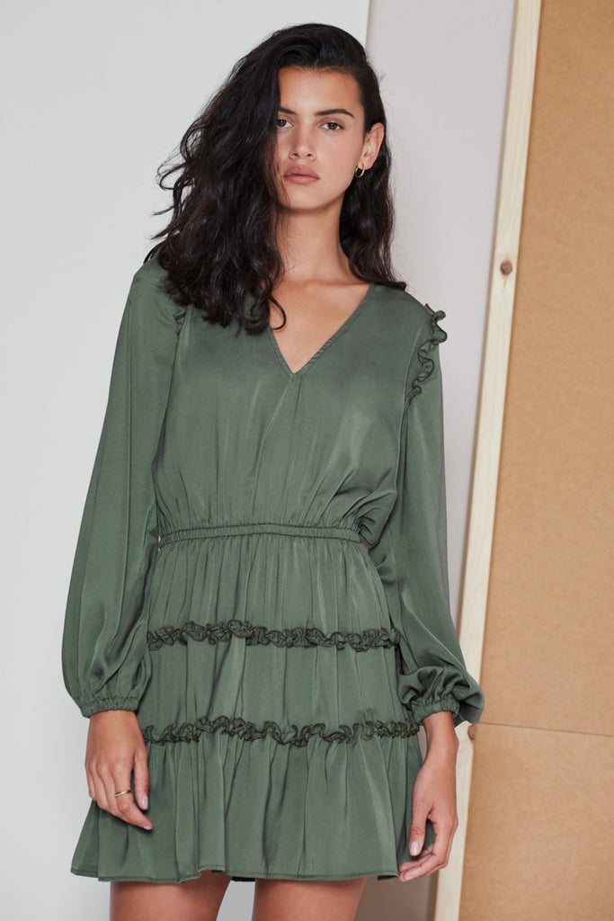 SONIC LONG SLEEVE DRESS sage