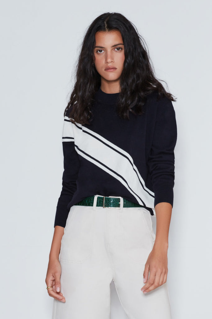 TRANSVERSE KNIT navy w white